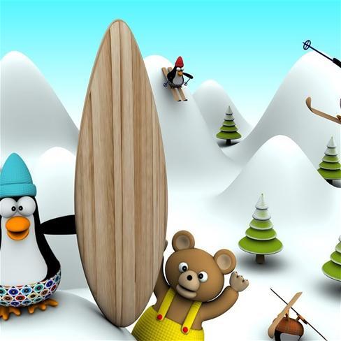企鹅,熊,滑雪,冬天,雪,可爱,萌,卡通,动漫,彩色,漫画