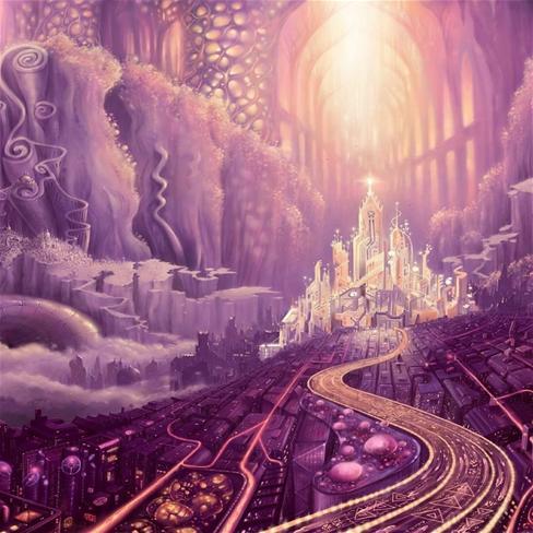 紫色梦幻动漫房子图片