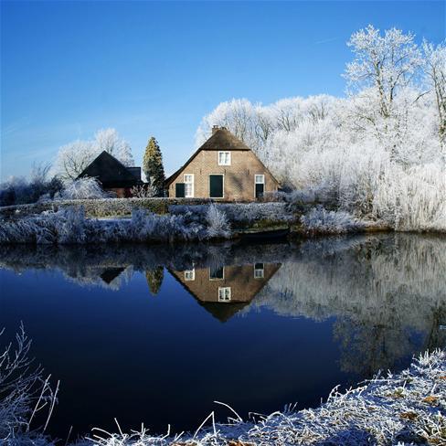 唯美,雪景,冬天,湖,房子,风景,蓝色
