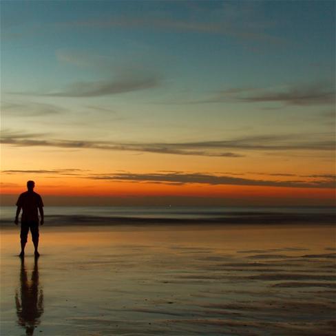 彩色海边风景简笔画