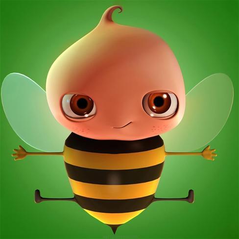 3d,蜜蜂,可爱,萌,卡通,动漫,绿色,漫画