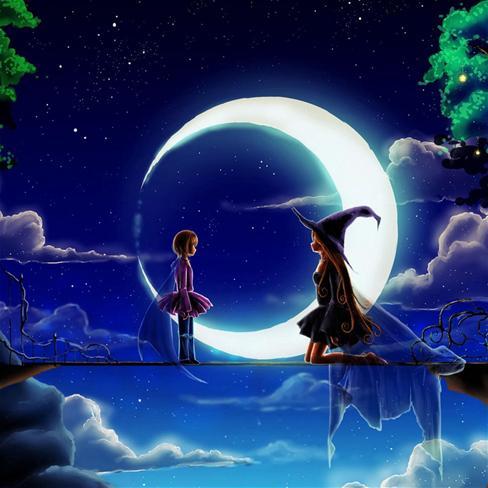 月亮,卡通,动漫