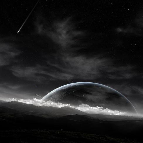 黑白,流星,风景,黑色