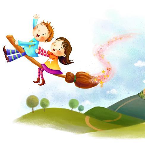 女孩,卡通,可爱,男孩,扫把,飞行,动漫,白色,漫画