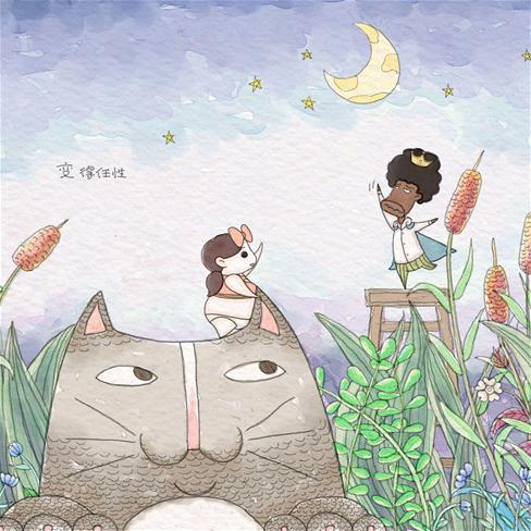 猫咪动漫手绘情侣