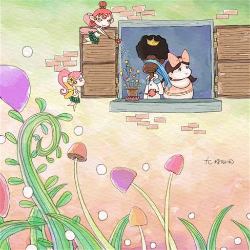 卡通,情侣,花仙子,动漫