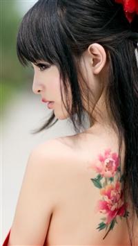 中国风,纹身,侧脸,美女图片