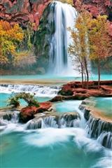 ,瀑布,山,风景,植物,